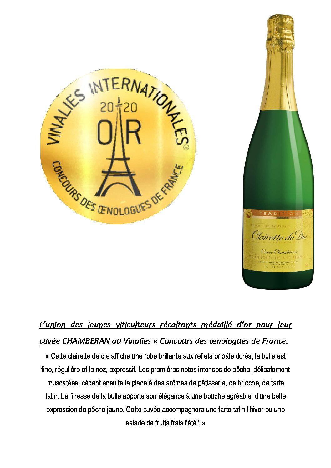 Médaille d'or aux Concours des œnologues de France